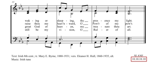 Hymn score with an example of a poetic meter.