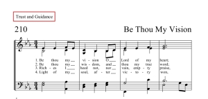 Hymn score with an example of a topical index listing.