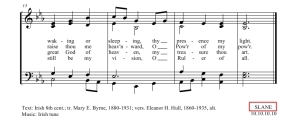 Hymn score with an example of hymn tune names.