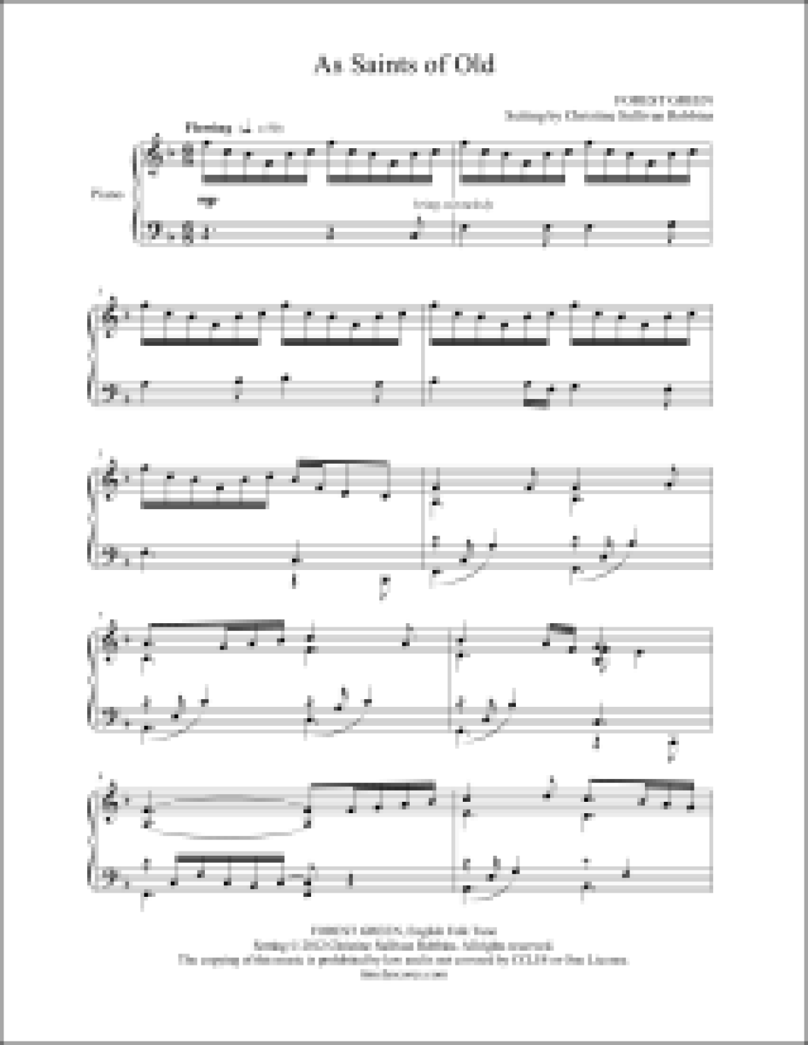 As Saints of Old Piano Sheet Music