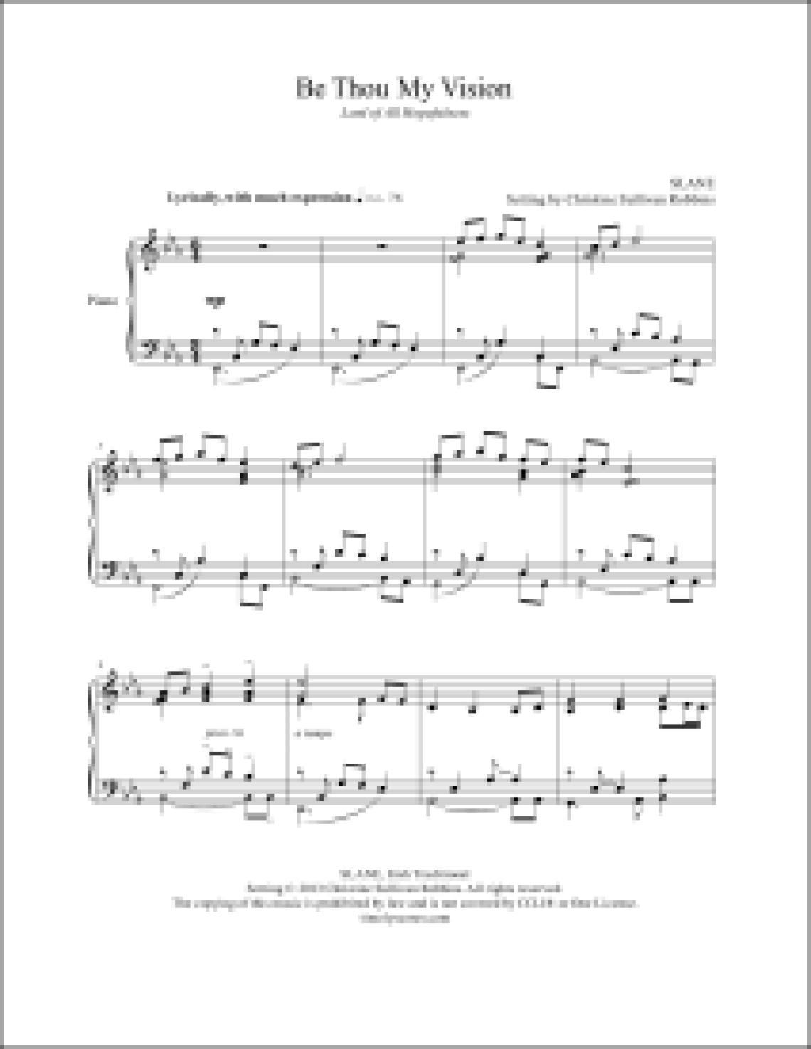 Be Thou My Vision Piano Sheet Music