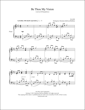 Be Thou My Vision (Lord of All Hopefulness) Piano Sheet Music