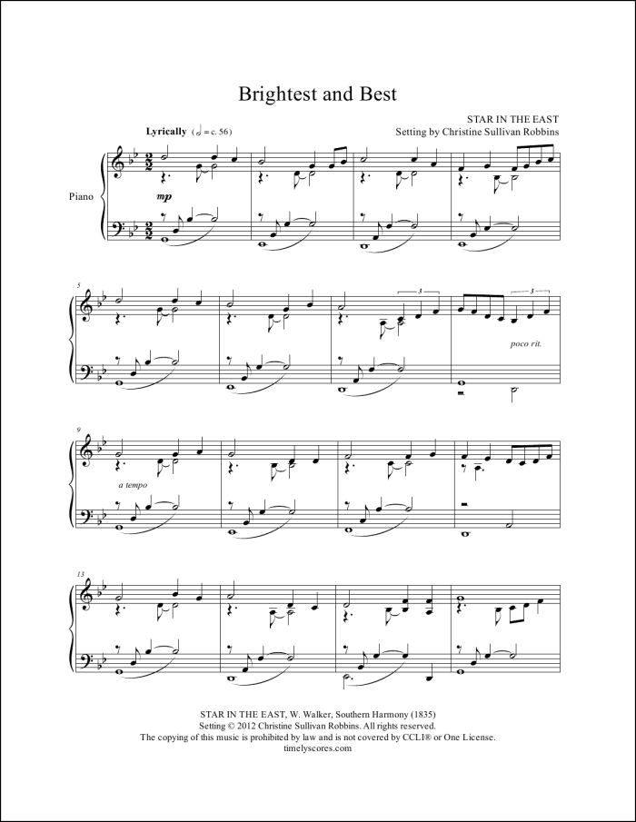 Brightest and Best Piano Sheet Music