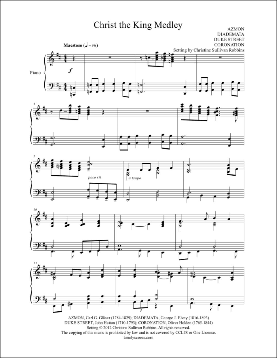 Christ the King Medley Piano Sheet Music
