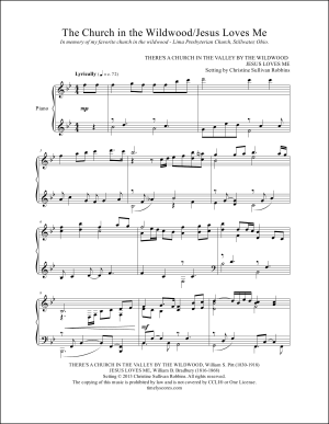 The Church in the Wildwood with Jesus Loves Me Piano Sheet Music