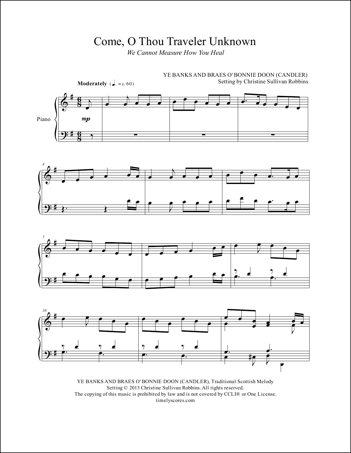 Come O Thou Traveler Unknown Piano Sheet Music