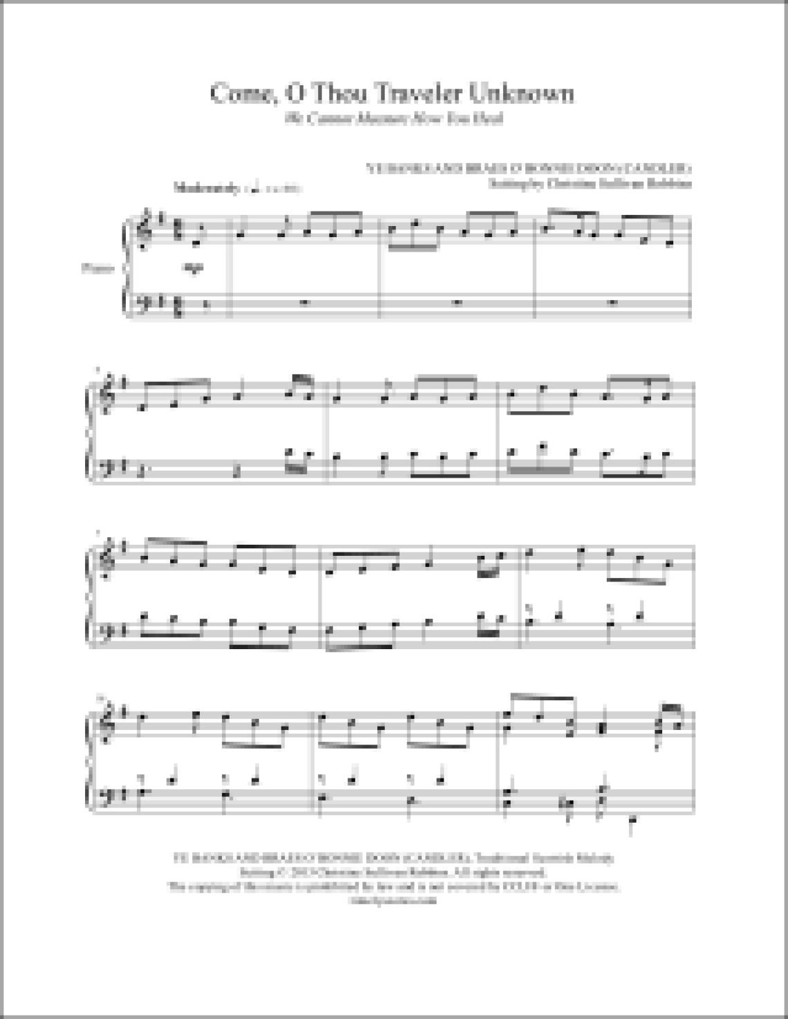 Come O Thou Traveler Unknown Piano Sheet Music