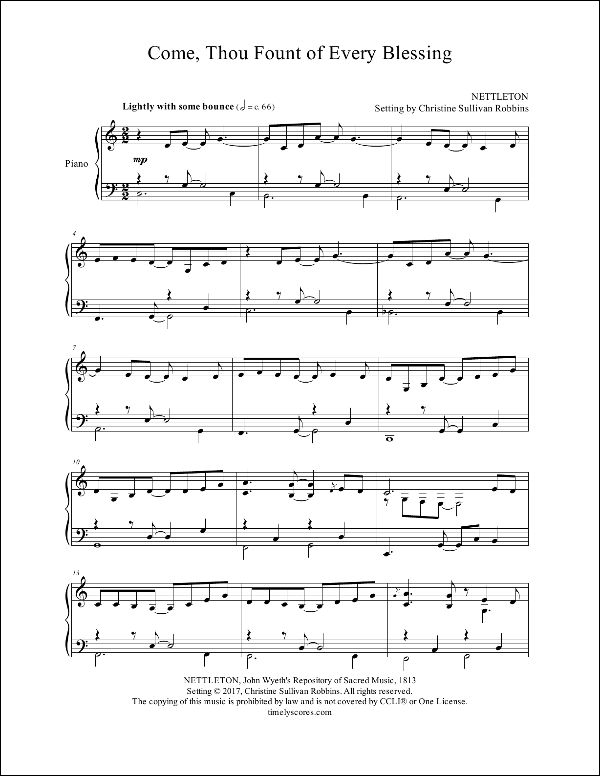 Come Thou Fount of Every Blessing Piano Sheet Music