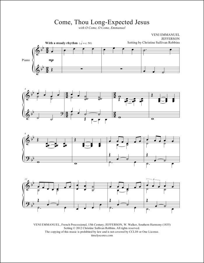 Come Thou Long Expected Jesus with O Come O Come Emmanuel Piano Sheet Music