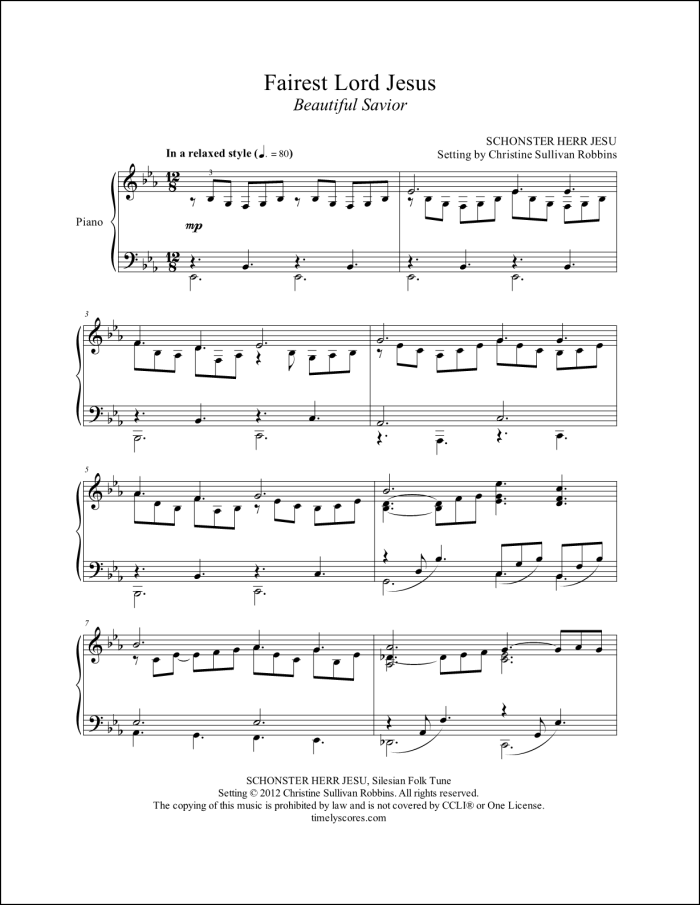 Fairest Lord Jesus Piano Sheet Music