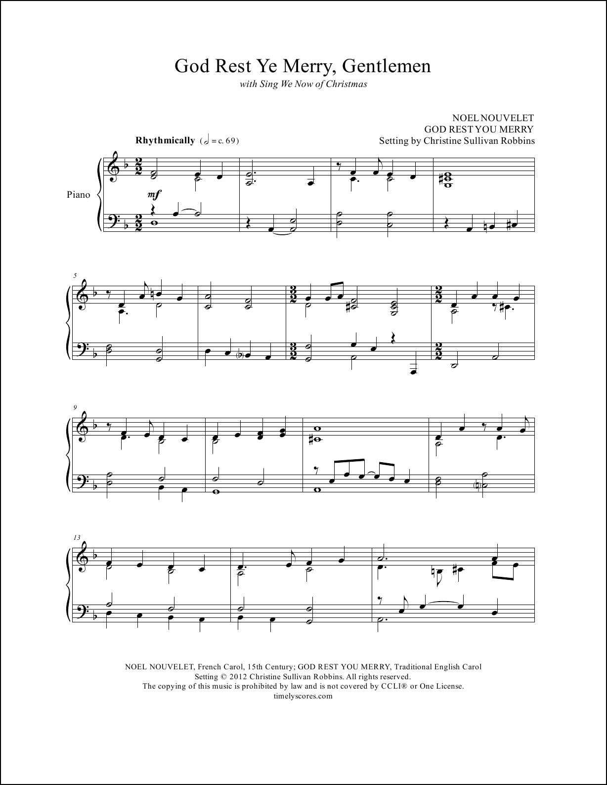 God Rest Ye Merry Gentlemen with Sing We Now of Christmas Piano Sheet Music