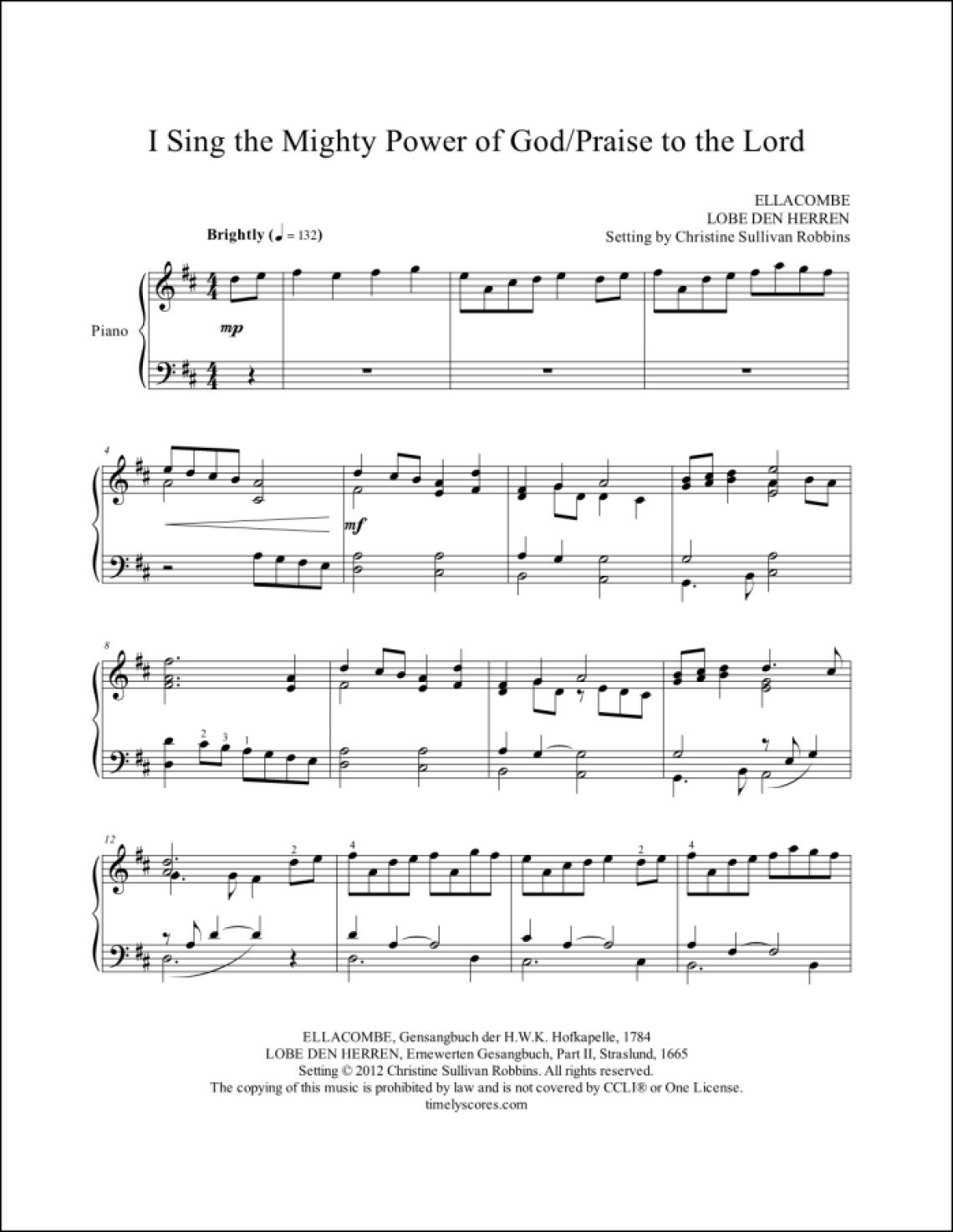 I Sing the Mighty Power of with God Praise to the Lord Piano Sheet Music