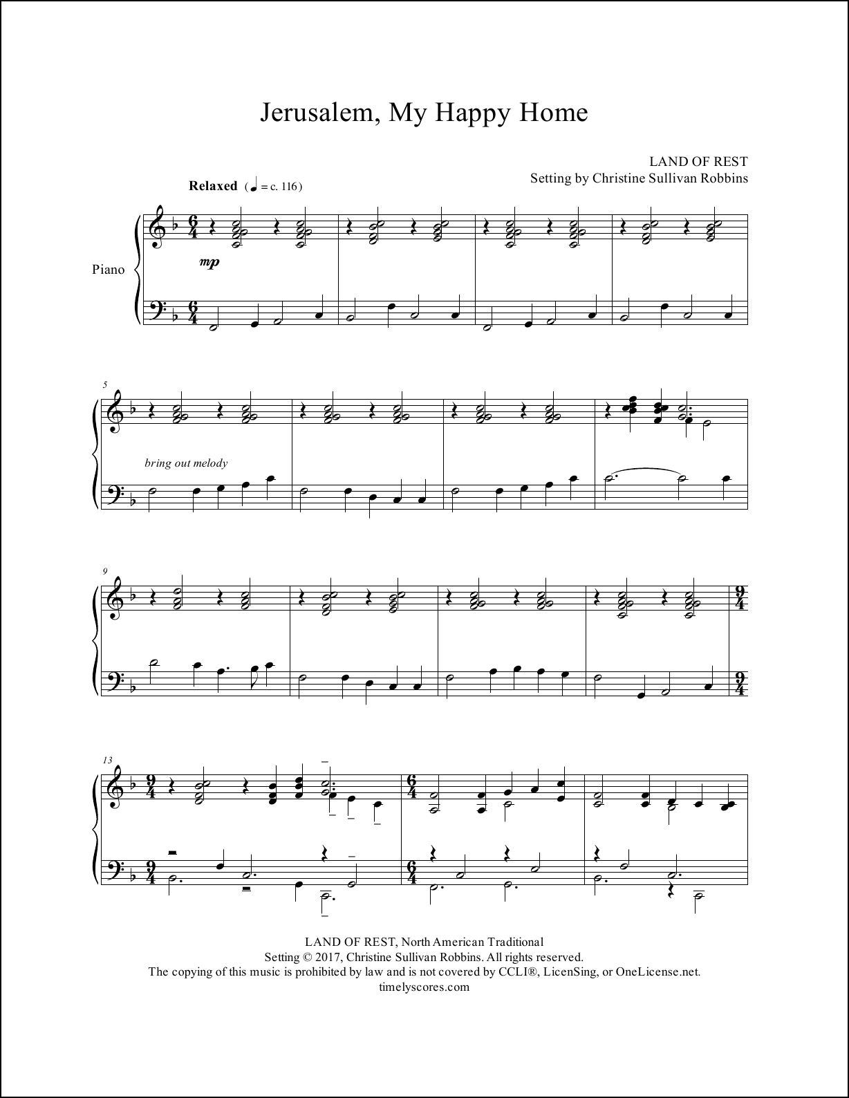 Jerusalem My Happy Home Piano Sheet Music