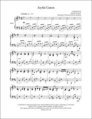 Joyful Canon (Canon in D with Ode to Joy) Piano Sheet Music