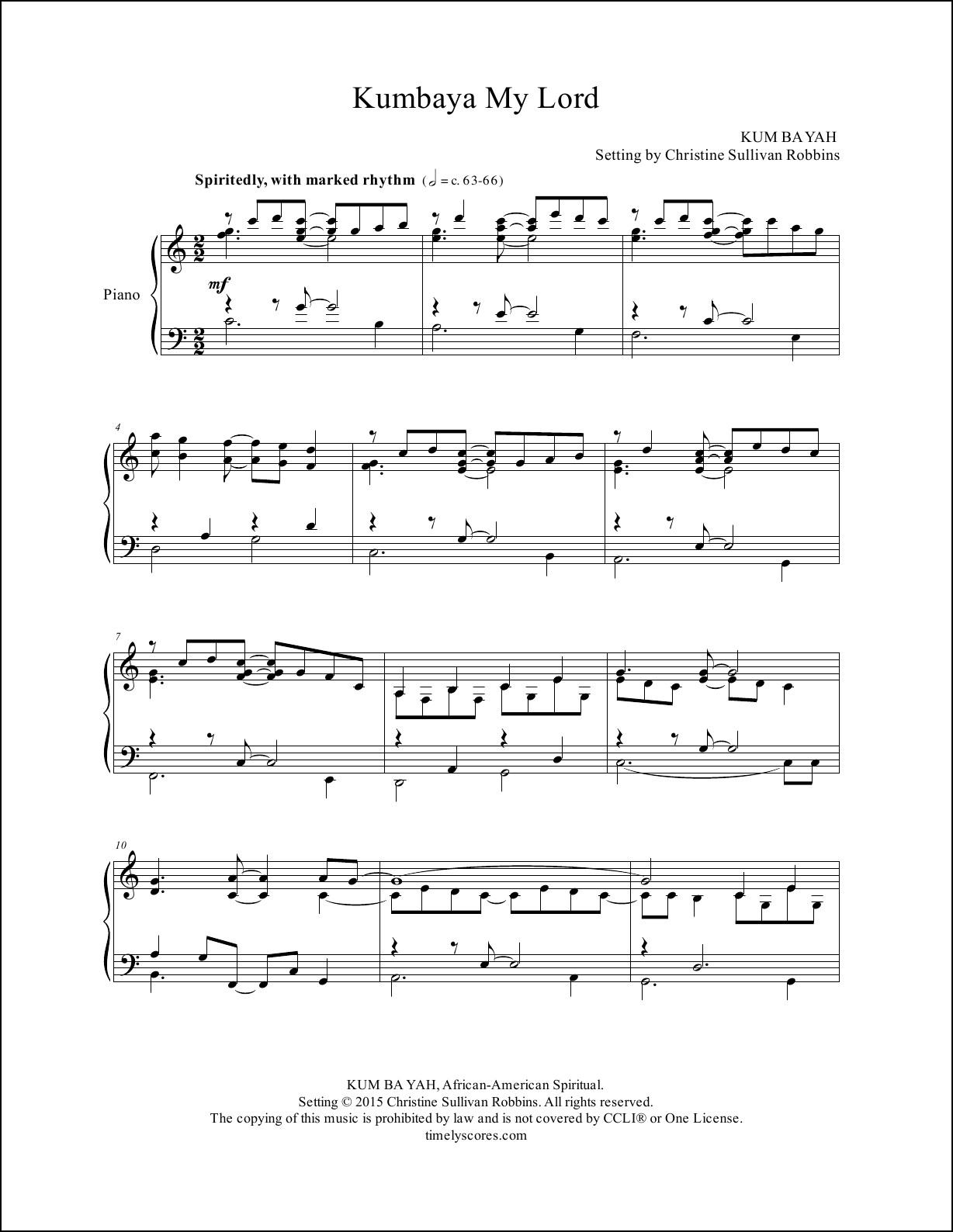 Kumbaya My Lord Piano Sheet Music