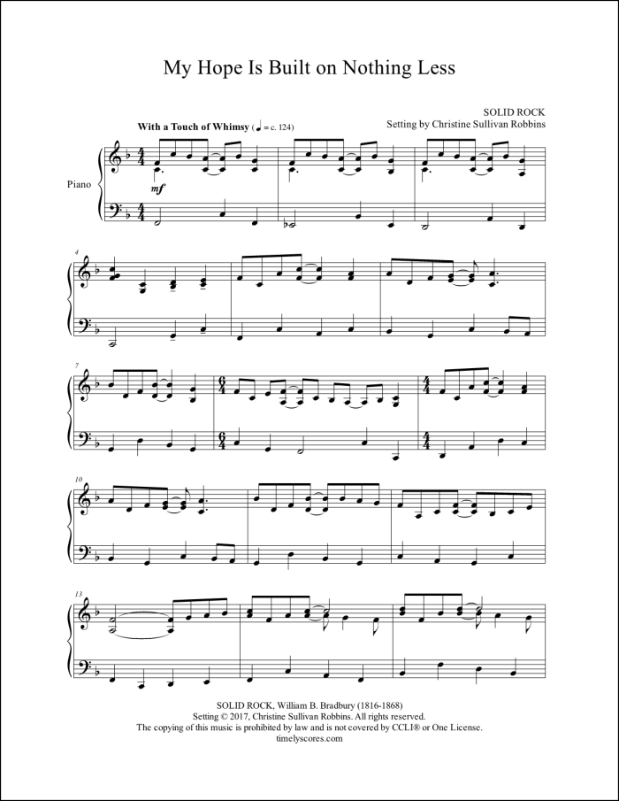 My Hope Is Built on Nothing Less Piano Sheet Music