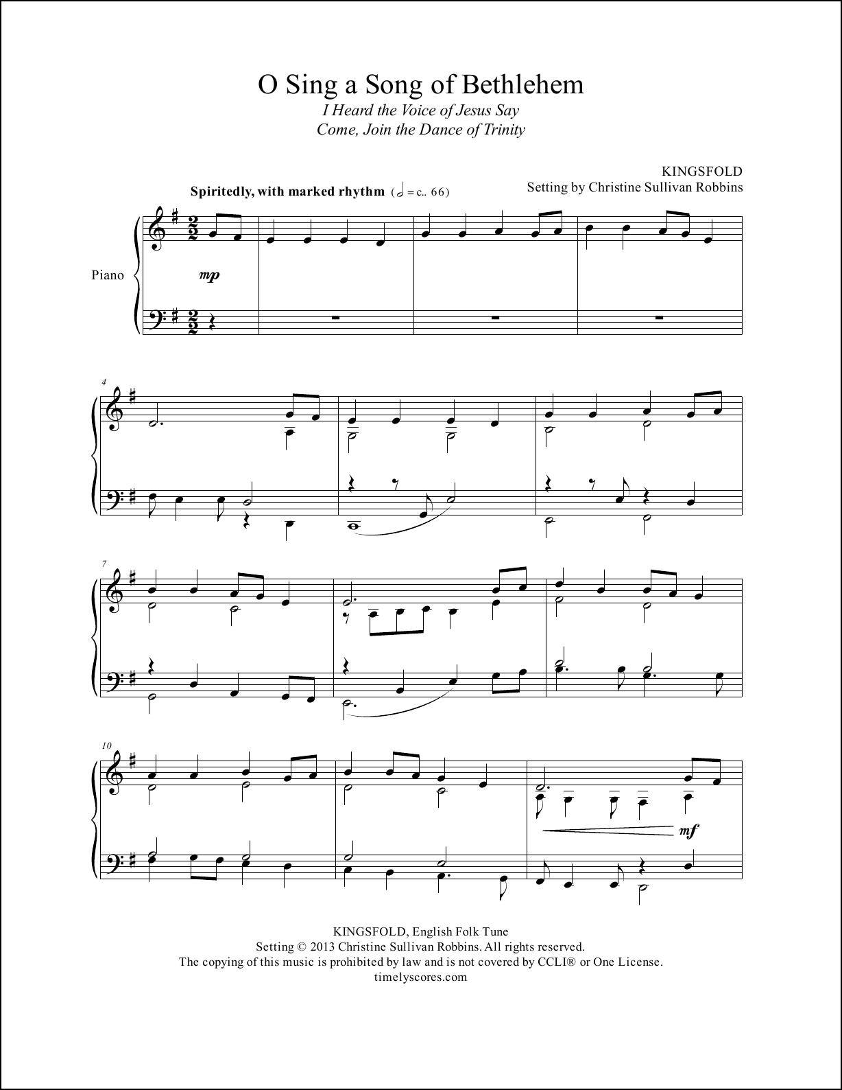 O Sing a Song of Bethlehem Piano Sheet Music