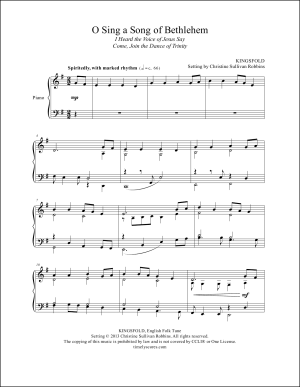 O Sing a Song of Bethlehem (I Heard the Voice of Jesus Say) Piano Sheet Music