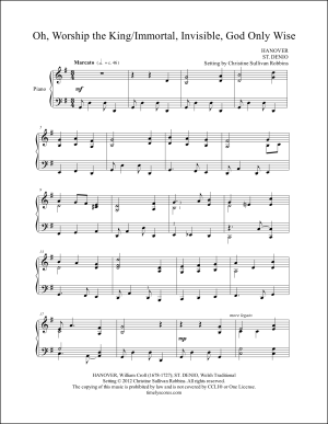 O Worship the King with Immortal, Invisible, God Only Wise Piano Sheet Music