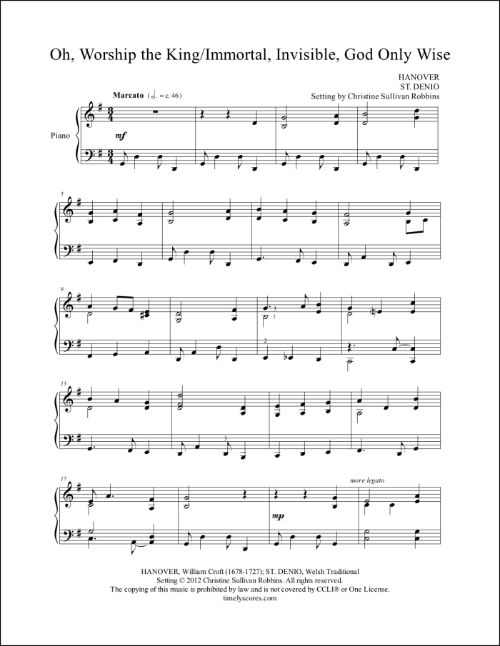 O Worship the King with Immortal Invisible God Only Wise Piano Sheet Music