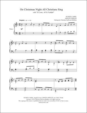 On Christmas Night with O Come, All Ye Faithful Piano Sheet Music