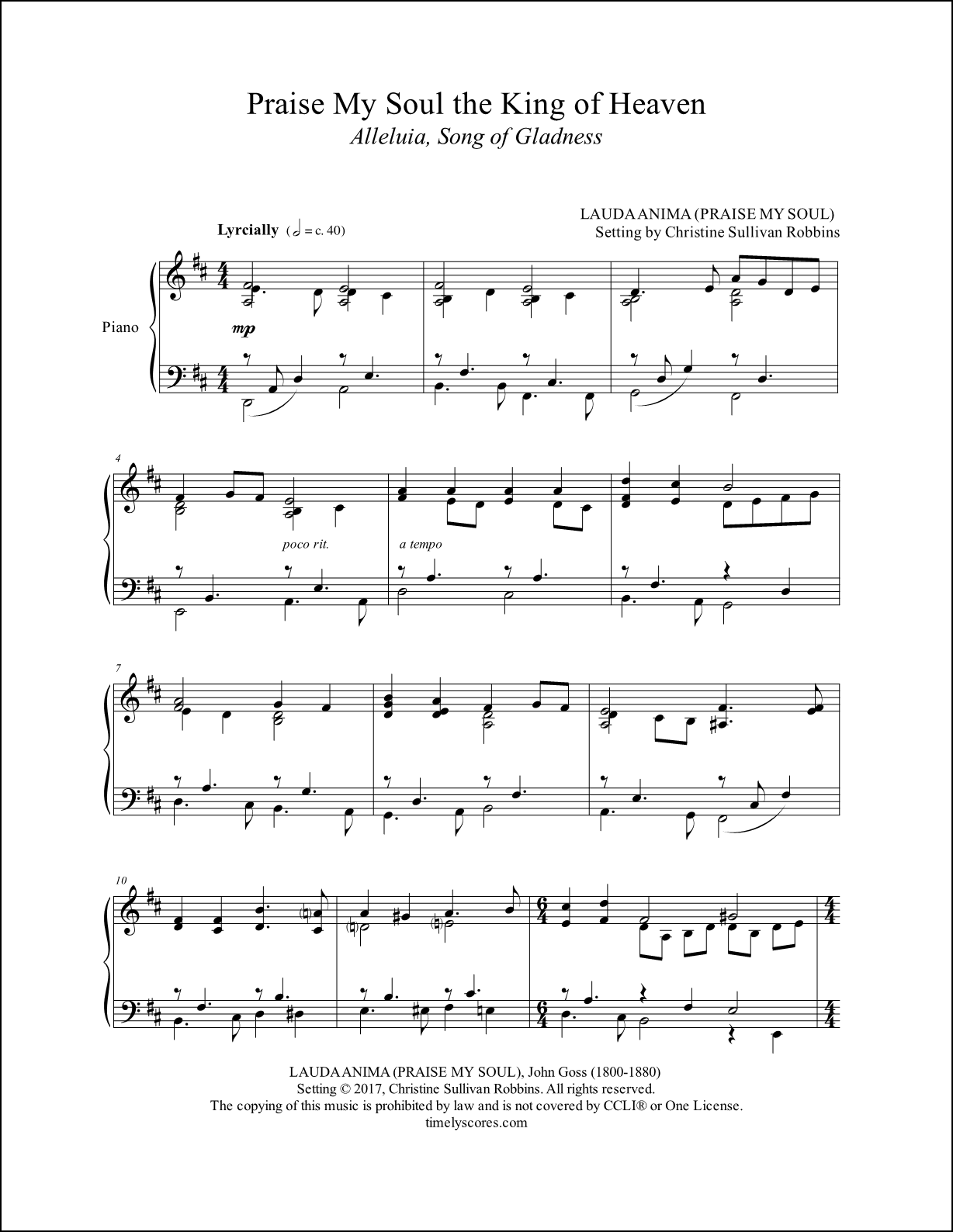 Praise My Soul the King of Heaven Piano Sheet Music