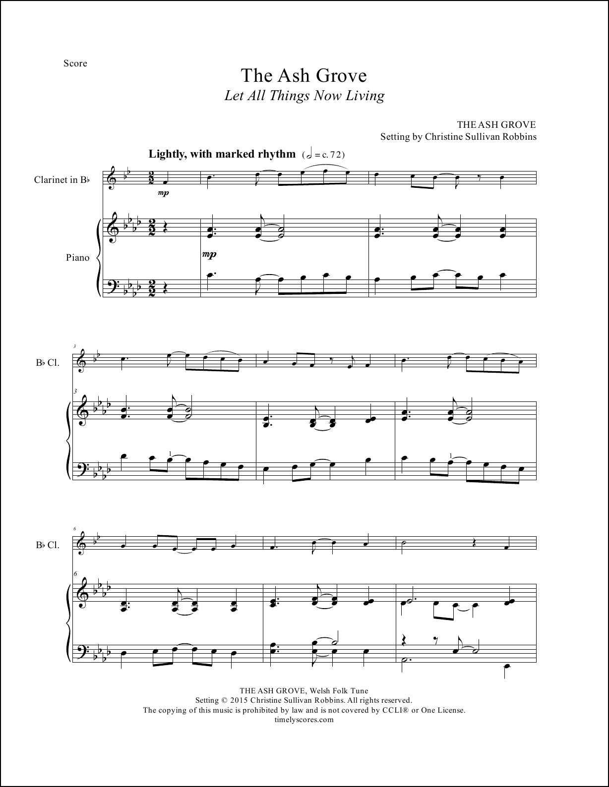 The Ash Grove Clarinet Sheet Music