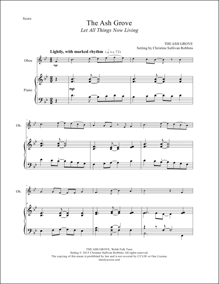 The Ash Grove Oboe Sheet Music