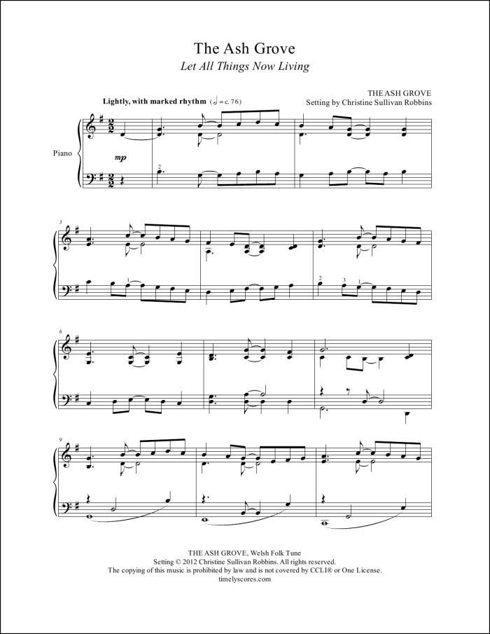 The Ash Grove Piano Sheet Music