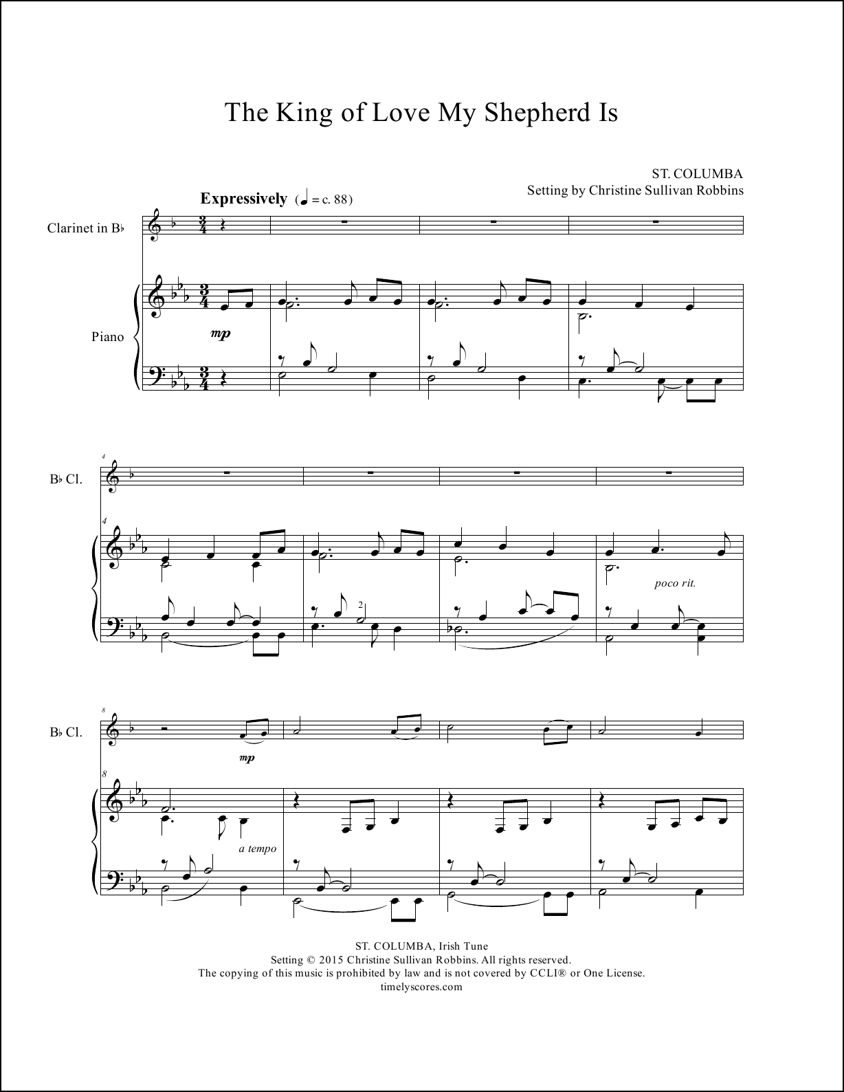 The King of Love My Shepherd Is Clarinet Sheet Music