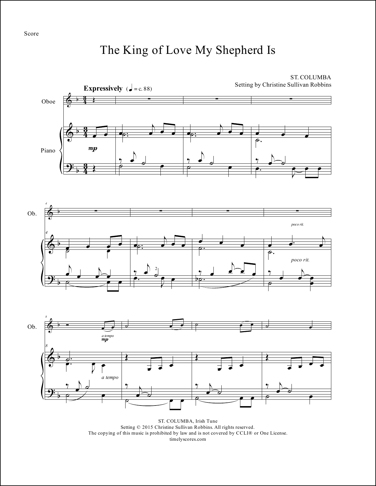 The King of Love My Shepherd Is Oboe Sheet Music