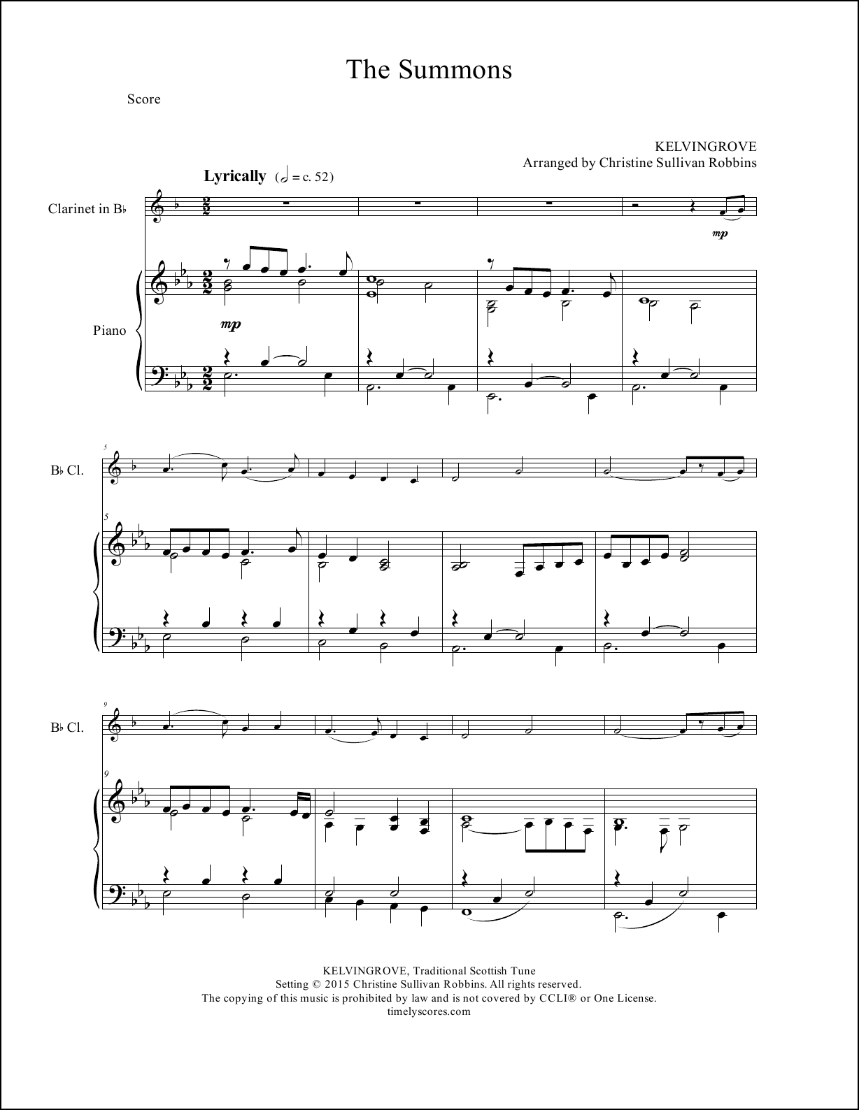 The Summons Clarinet Sheet Music