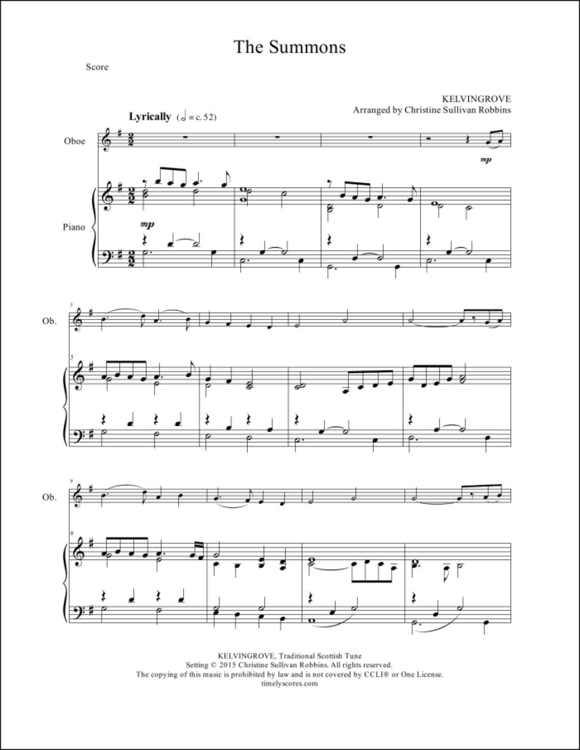 The Summons Oboe Sheet Music