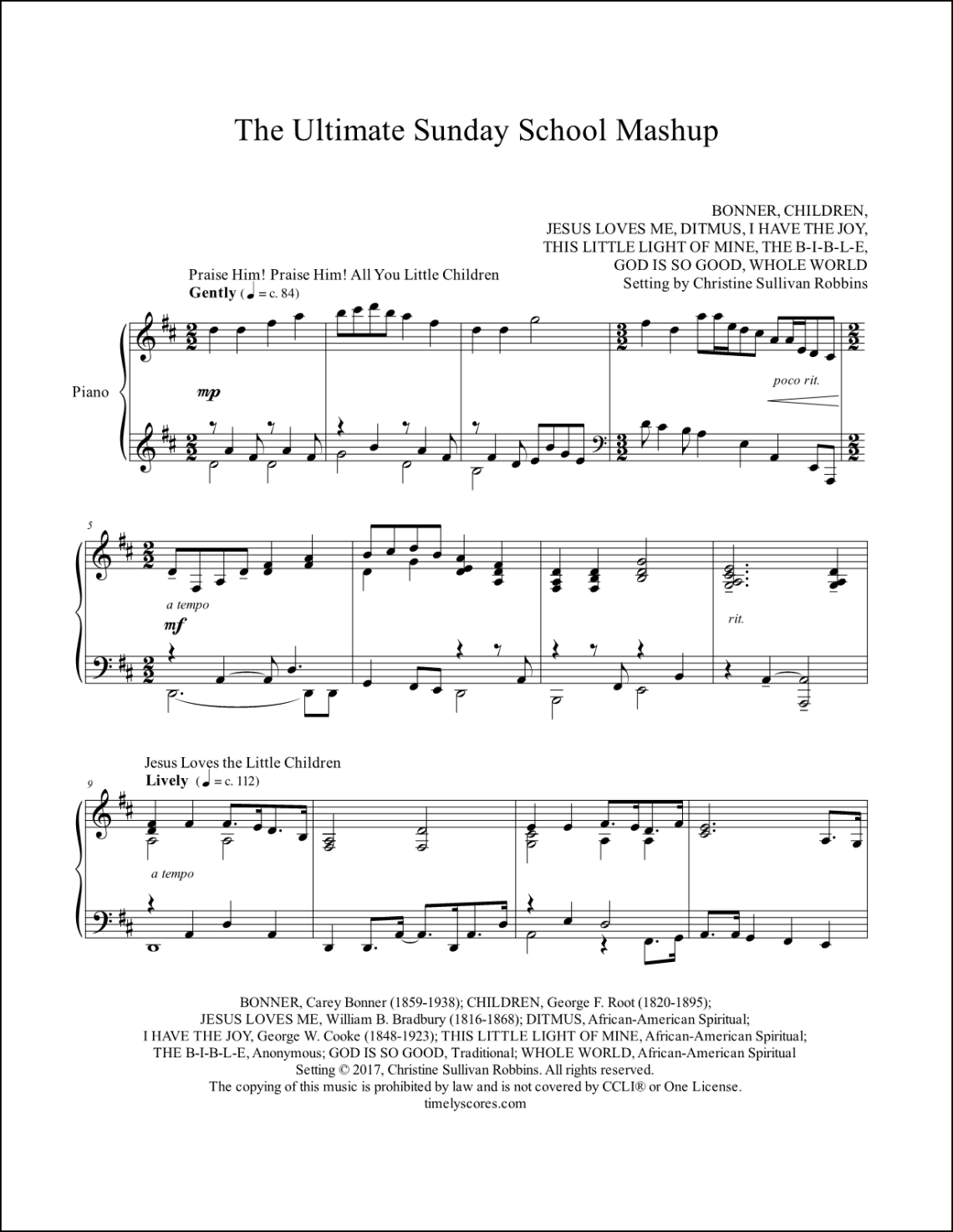 The Ultimate Sunday School Mashup Piano Sheet Music