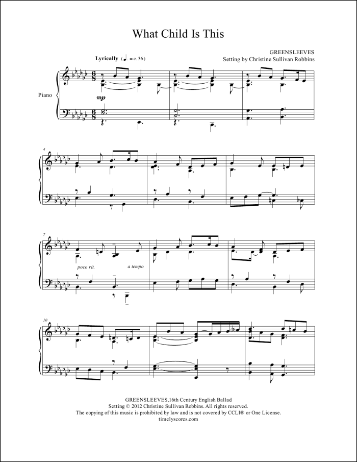 What Child Is This Piano Sheet Music
