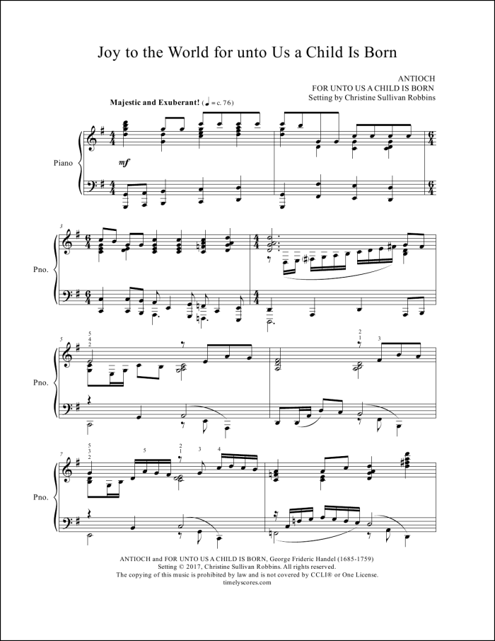 Joy to the World for unto Us a Child Is Born Sheet Music (Affiliate Link)