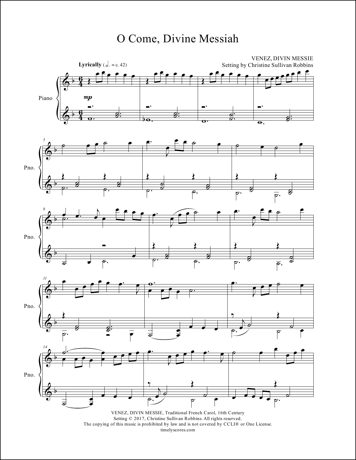 O Come Divine Messiah Piano Sheet Music