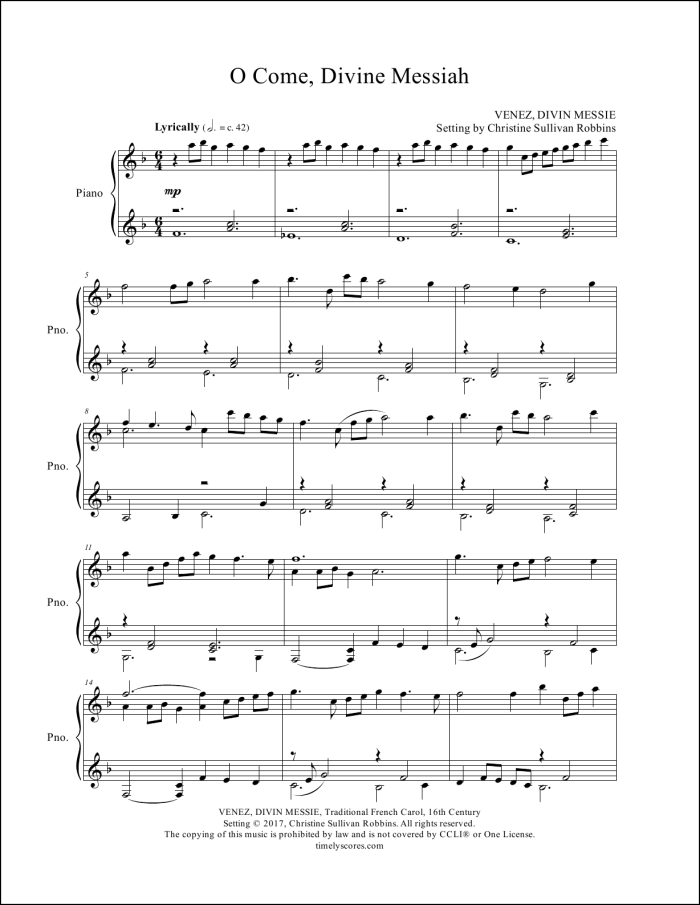 O Come, Divine Messiah Piano Sheet Music