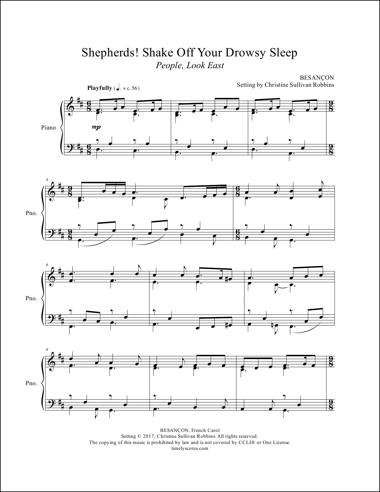 Shepherds Shake Off Your Drowsy Sleep (People Look East) Piano Sheet Music