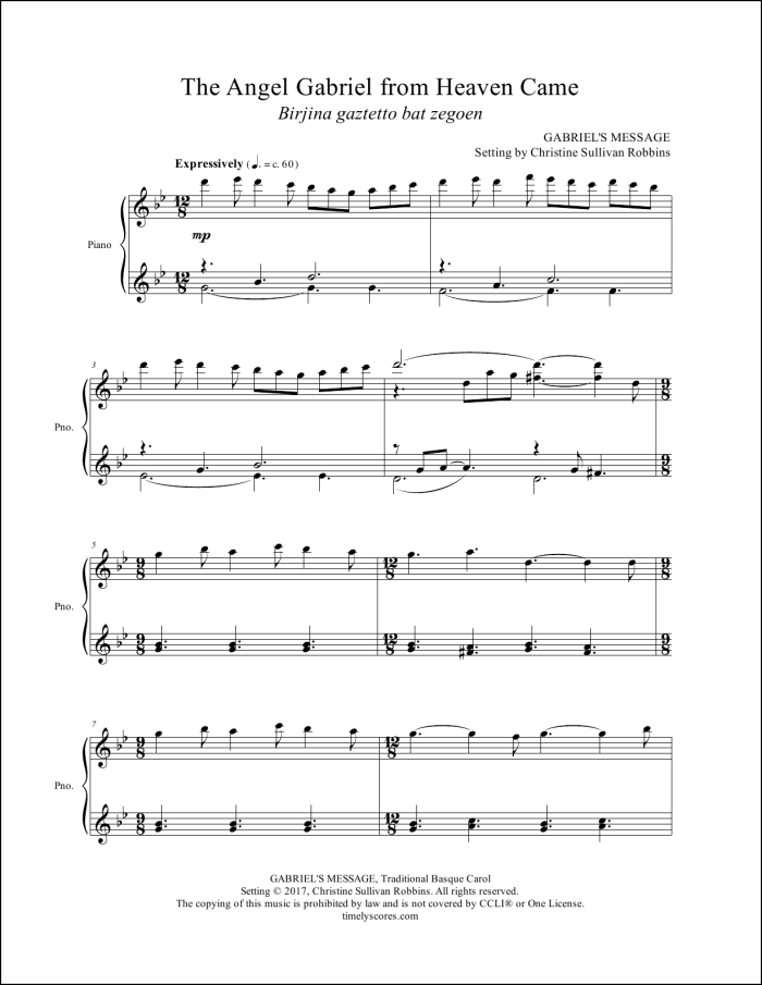 The Angel Gabriel From Heaven Came Piano Sheet Music