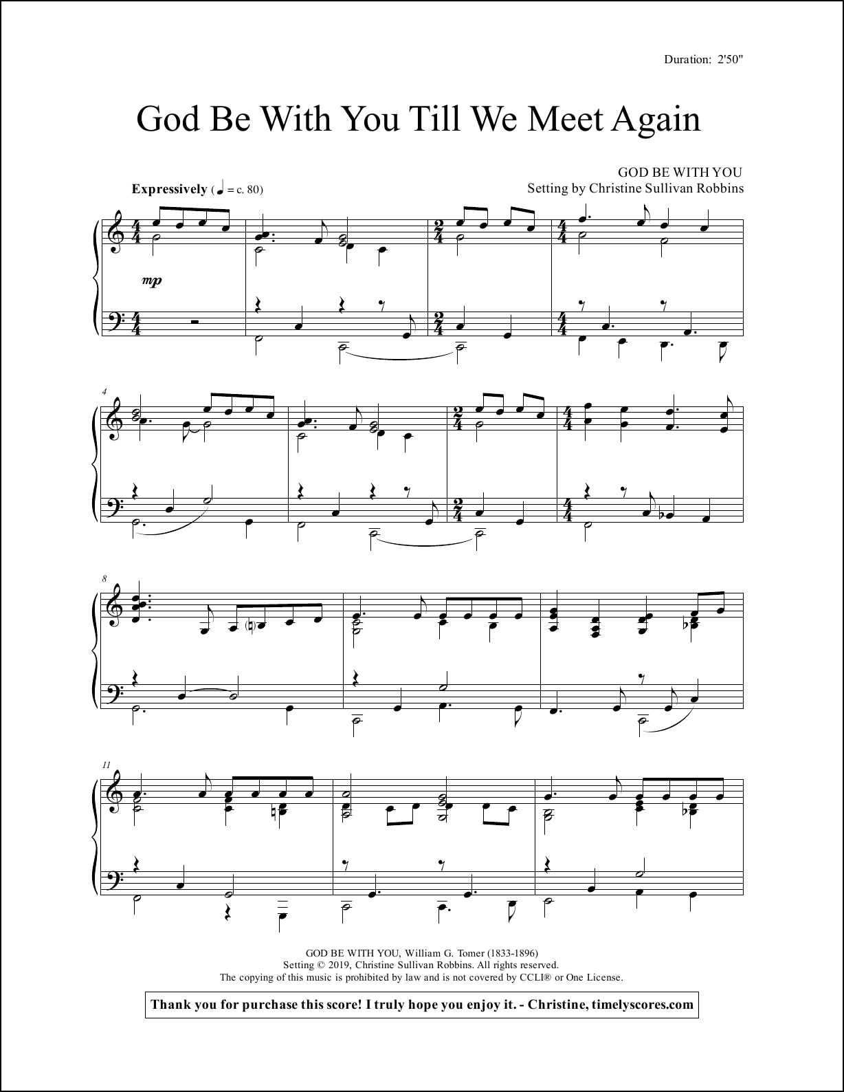 God Be With You Till We Meet Again Piano Sheet Music