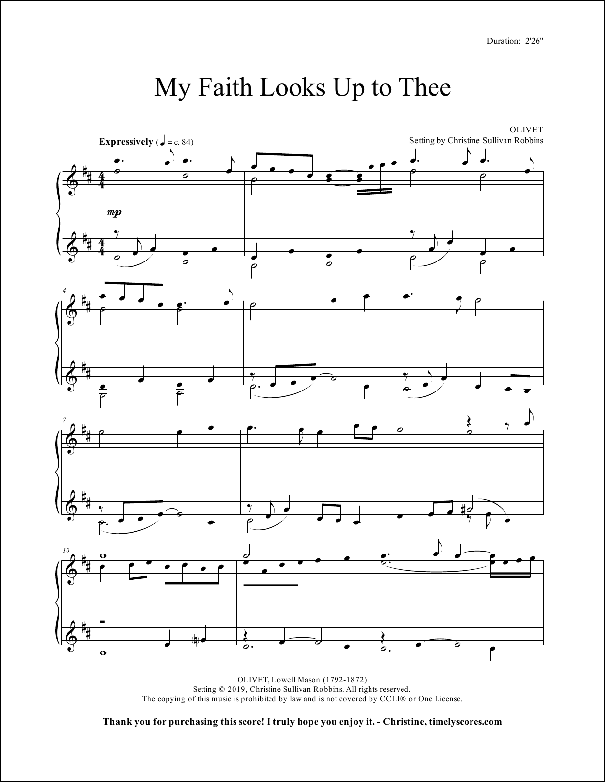 My Faith Looks Up to Thee Piano Sheet Music